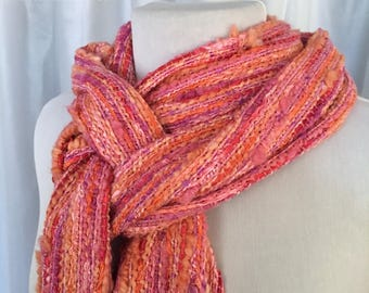 Sweet Hearts Handwoven Scarf, Pink Scarf, Orange Scarf, Hand Woven Scarf, Woven Scarf, Handmade Scarf, Cozy Scarf, Valentines Gift for Her