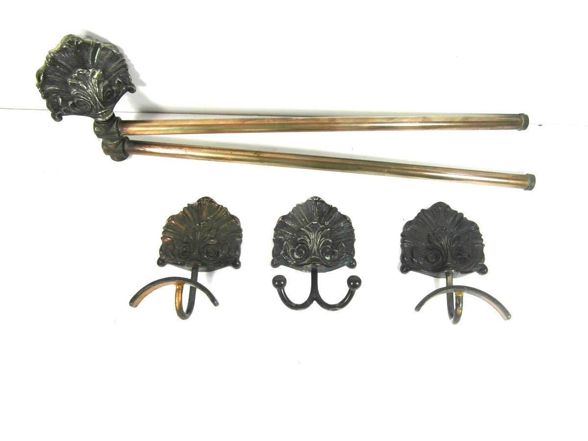 Metal bathroom accessories set, towel rail and towel hooks, metal ...