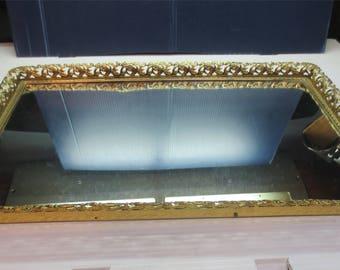 Vintage Mirrored Filigree Dresser Vanity Tray