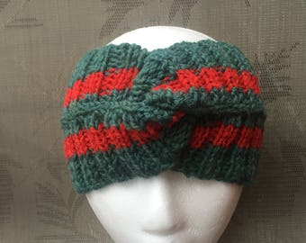 100% Wool Gucci headband style, men, women, Gucci inspired bandana, green, red
