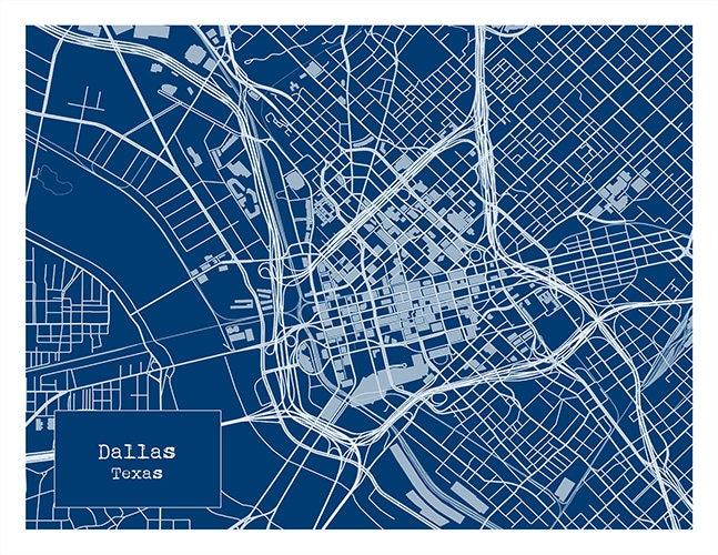 Dallas texas blueprint map poster art print several sizes for Blueprint size prints