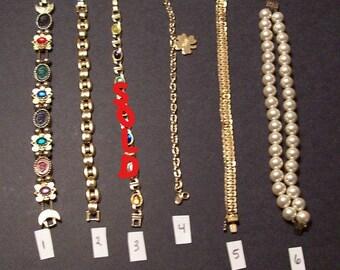 5 Vintage Bracelets Each Sold Separately some marked Avon,Napier,Hopechest