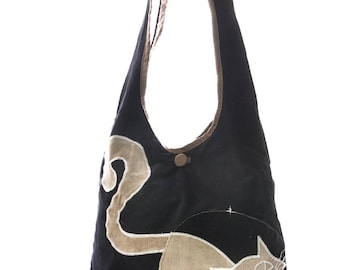 Black and white cat patchwork shoulder bag, autumn