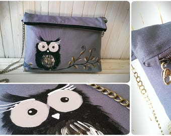 OWL Messenger bag, fun style hand painted gray fabric