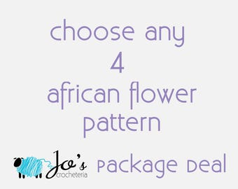 Choose your 4 favorite African Flower Crochet Pattern by JosCrocheteria