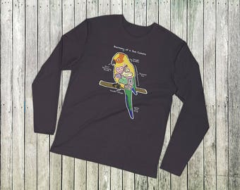 Anatomy of a Sun Conure - Funny Sun Conure Shirt - Long Sleeve Fitted Crew