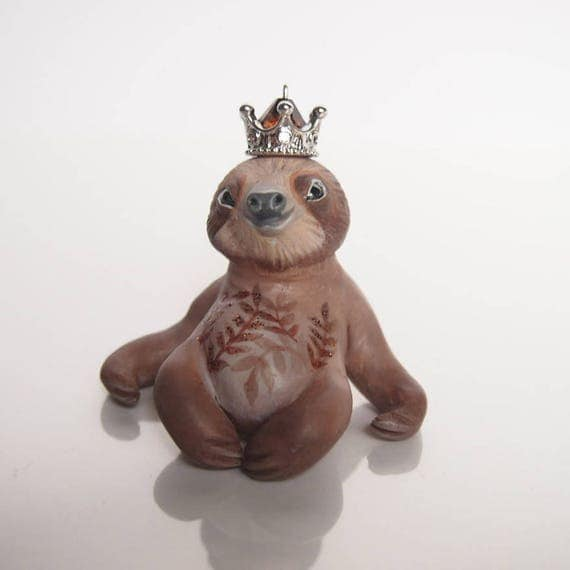 HOUSE SPIRITS / SLOTH - Handmade Polymer Clay Sculpture With a Swarovski Crystal