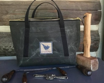 Heavy waxed canvas tool bag, Father John's satchel, heavy zippered bag