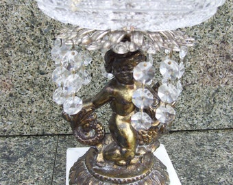 Brass Angel on Koi Fish,Crystal Bowl,Marble Base,Made in Italy, Brass Cherub,Hanging Crystals