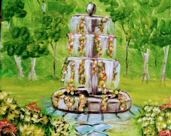 Fountain in Provence? Acrylic painting, 11 x 14