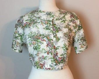 Vintage Cropped 50's Floral Scene Jacket
