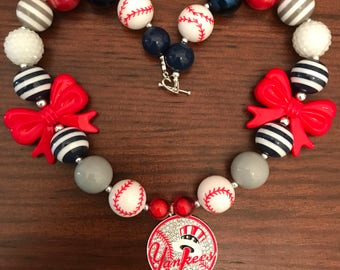 MLB inspired New York Yankees Baseball Bubble Gum Necklace (Adult/Teen)
