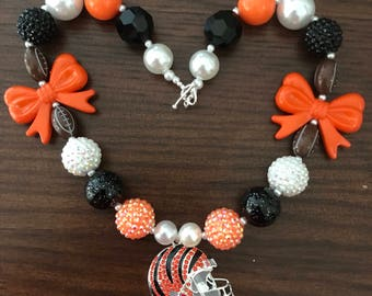 NFL inspired Cincinnati Bengals Football Chunky Bubble Gum Necklace Two Styles  (Small Adult).
