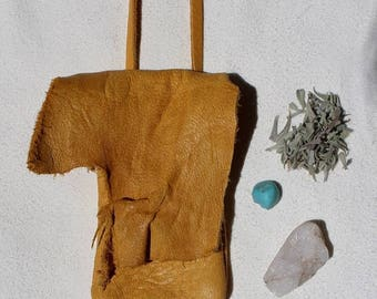 SALE HANDMADE medicine pouch // leather medicine bag // leather neck pouch