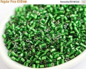 ON SALE -15% 2mm Czech Seed Beads 20g Chrysolite Green Bugle Preciosa Ornela
