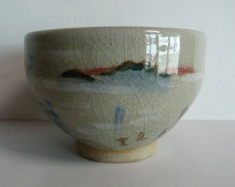 Tea bowl - Japanese vintage ceramic - a poem by Zen Buddhist monk, Ryokan - island across the ocean - WhatsForPudding #1829