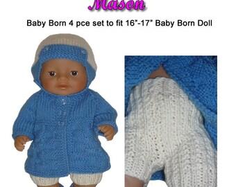 Baby Born Knitting Pattern (JMASON) fits 16 to 17 inch dolls
