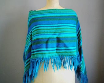 70s vintage poncho / wear two ways poncho / vintage wool poncho / 1970s vintage striped cape / green poncho with tassels