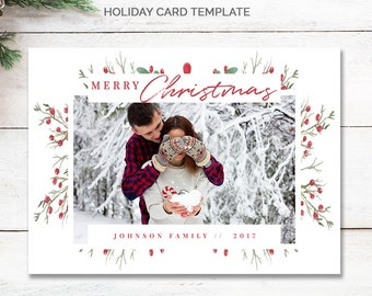 Family Christmas Card Instant Download, Printable Christmas Cards Template, 5x7 Christmas Card Template, Modern Holiday Cards Photo, mc188