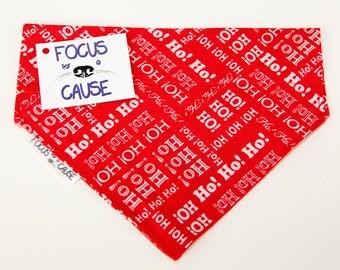 Ho Ho Ho, Dog Bandana, Christmas Red & White Font, Slide Over the Collar Dog Bandana, Pet Bandanas, Focus for a Cause