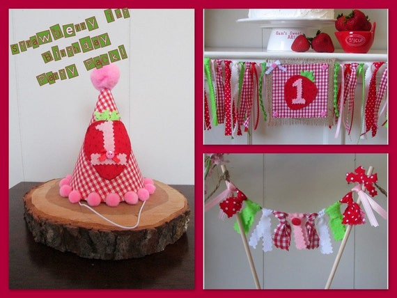 Strawberry 1st Birthday Party Pack Strawberry First Birthday Banner