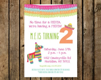 Birthday Invitation / Kids / Mexico / No Time for a Siesta We're Having a Fiesta / Free Shipping