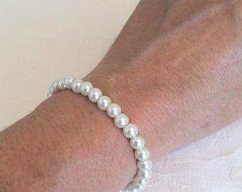 Pearl Bracelet, Pearl Jewelry, Ivory Pearl Bracelet, Bridesmaid Bracelet, Ivory Bridesmaid Jewelry, Wedding, Bracelet & Earrings