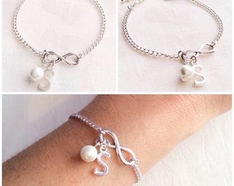 Infinity Bracelet, Initial Bracelet, Personalised Bracelet, Infinity Jewelry, Bridesmaid Bracelet, Knot Bracelet