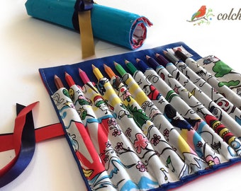 Roll for coloured pencils or markers - kawaii blue pouch