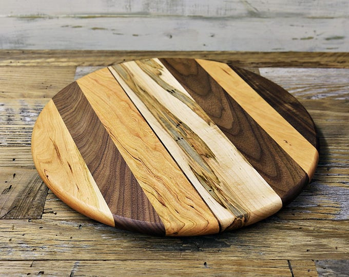 Large Lazy Susan, 16 Inches Round, Oil Rubbed Finish, Low Profile, Walnut, Ambrosia Maple,  and Cherry Wood, Random Layout