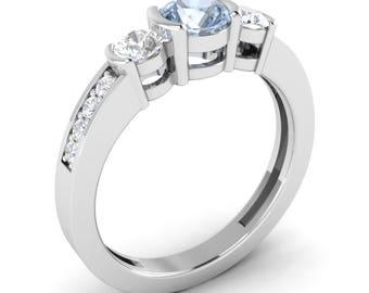 Natural AAA Aquamarine Engagement Ring With SI Diamond 14K Gold | Three Stone Aquamarine Ring | 14K Gold Certified Aquamarine Diamond Ring