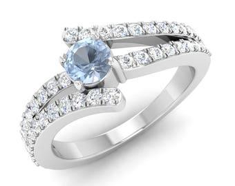 AAA Aquamarine Engagement Ring | Aquamarine Ring With Diamond | 14K White Gold | Promise Ring | Diamond Gold Ring | Diamond Anniversary Ring