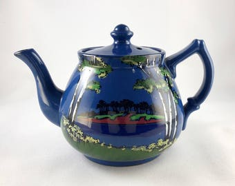 Torquay Pottery Teapot Blue Spring Trees