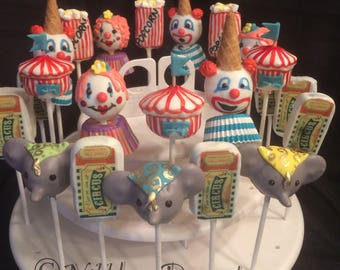 24 Circus Theme cake pops: clowns, elephants, popcorn, circus tent, 2 DZ