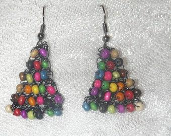 Multicolored wood earrings wooden multicolor crochet