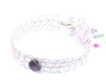 Labradorite bracelet wire crochet jewelry. Labradorite bangle gemstone bracelet fine and silver plated wire cuff bracelet made in France