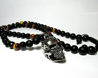 Mens Onyx Skull Necklace, Mens Tiger Eye Skull Necklace, Mens Beaded Necklace, Steel Skull Necklace, Gift for Men, Pendant Necklace