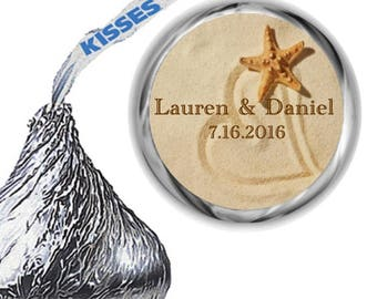 216 Personalized Beach Heart In Sand Bridal Shower and Wedding Hershey Kiss Labels and Mint Stickers