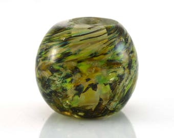 Green Maze Large Round Handmade Glass Lampwork Bead