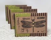Dragonfly Note Cards - Kraft Note Cards - Green Dragonfly Note Cards - Small Note Cards - Note Card Set - Striped Note Cards - Card Set