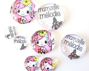 "Lot 8 cabochons theme ""MAM ' MISSY - Melody"" (craftsmanship) 12mm / 20mm / 25mm"