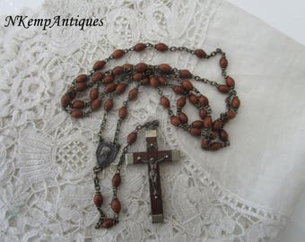 French wooden rosary 1920's