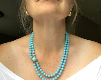 RESERVED for MeikeVintage Blue Beaded Necklace Mid Century Faceted Double Strand Decorative Clasp