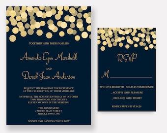Navy and Gold Wedding Invitations, Gold Glitter Confetti Invites, Wedding Invitation Set - SAMPLE