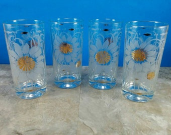 Vintage Set of 4 Sunflower Frosted and Gold Glasses - Mid-Century Glasses of Wildflowers