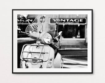 Paris Photography, Vespa Photo, Paris Print, Paris Bedroom Decor, Paris Decor, Vespa Print, Paris Street Photography, Paris Wall Art