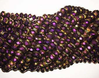 2 Strands 10x8 mm Metallic Purple and Gold hue  Rondelle shape Crystal Beads Chinese crystal ~ Metallic Purple ~ 70 beads each