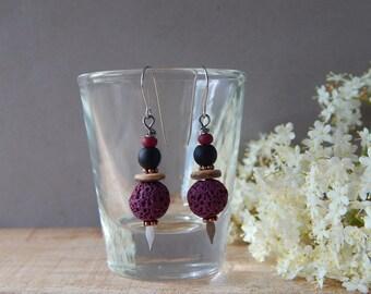Lava Rock Earrings, Purple Jewelry, Boho Chic Earrings, Modern Everyday Jewelry, Lightweight Dangle Earrings, Purple Black, Gift Women