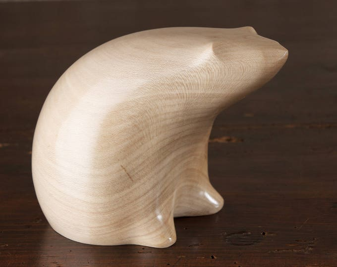 Featured listing image: Polar Bear Sculpture Hand Carved From English Holly Wood by Perry Lancaster