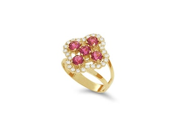 14k solid gold diamond and pink tourmaline ring. floral ring. fancy ring.